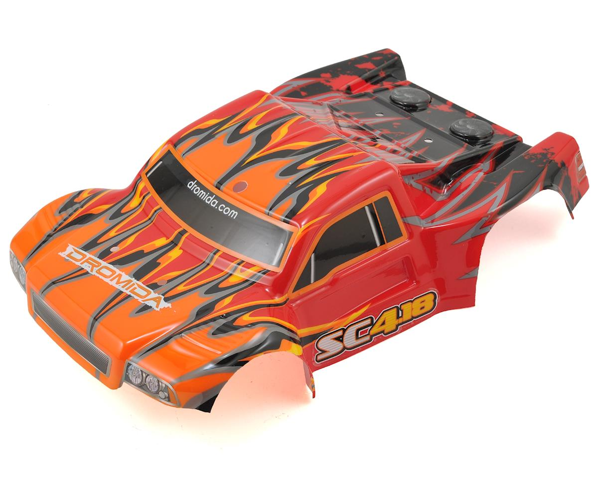Pre-Painted Short Course Body w/Decals (Red/Orange) by Dromida