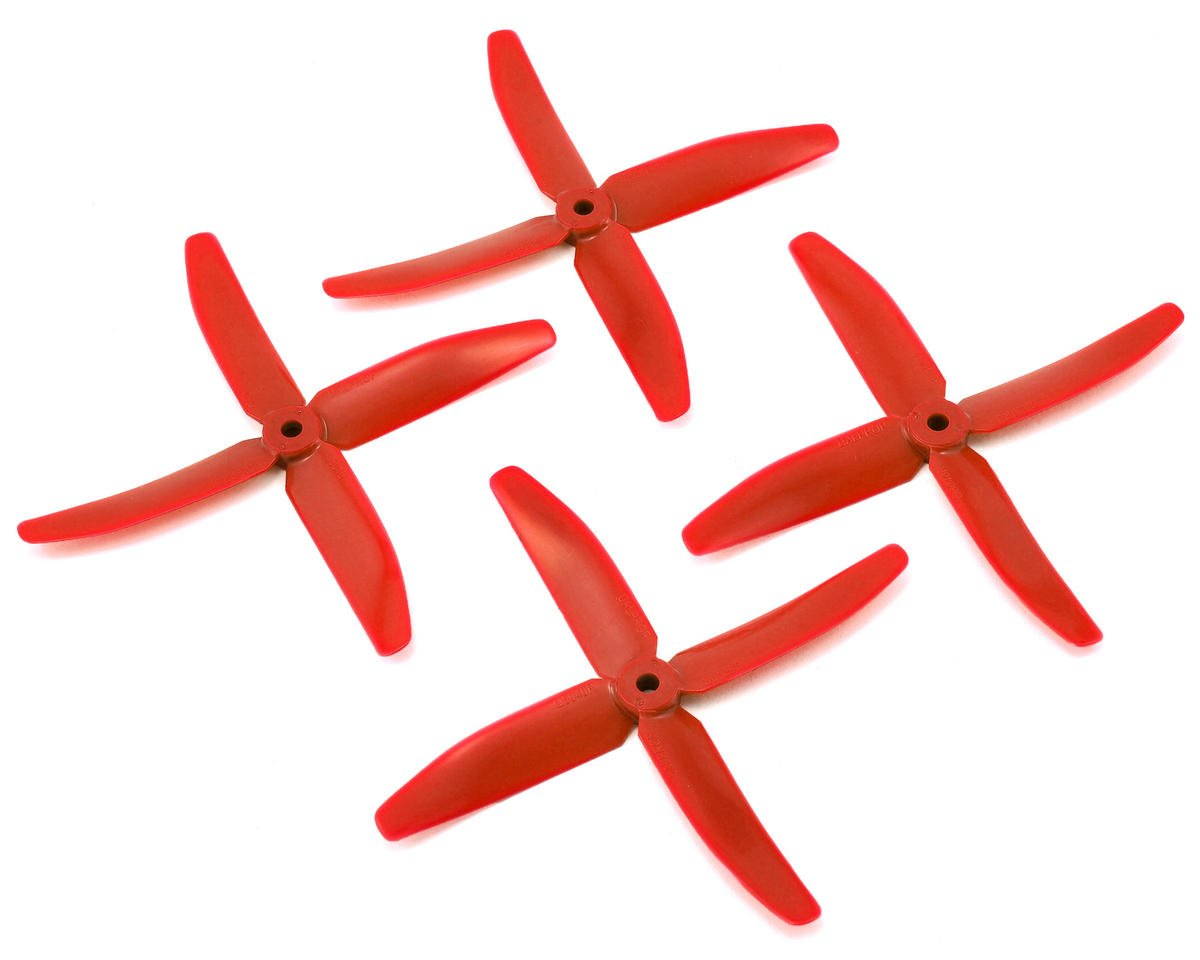 Quad Blade 5x4x4 Prop (Red) (2CW & 2CCW) by Dal Props