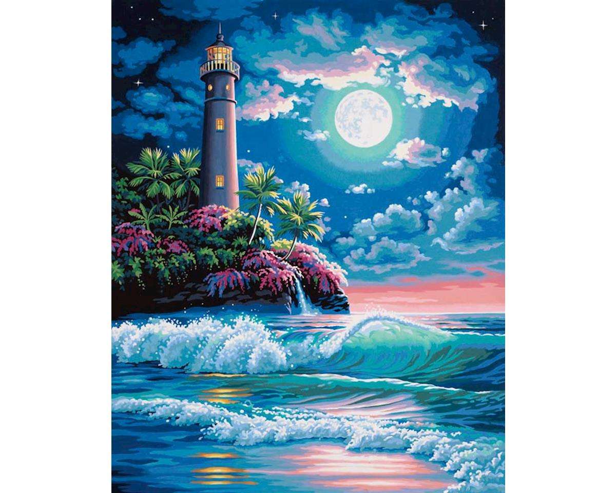 73-91424 Lighthouse In Moonlight PBN by Dimensions
