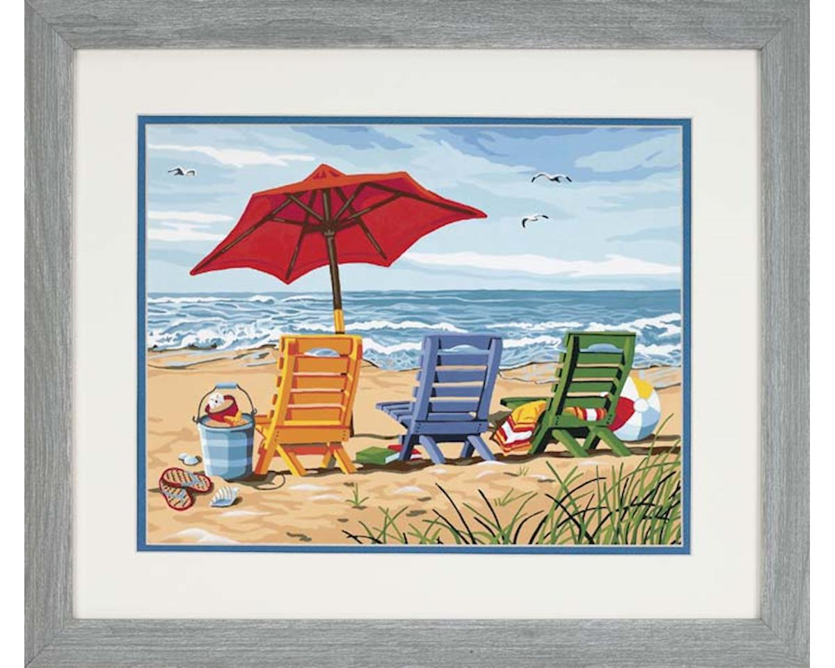 """Dimensions  Paint By Number Beach Chair Trio Paint Works 11 X 14"""""""