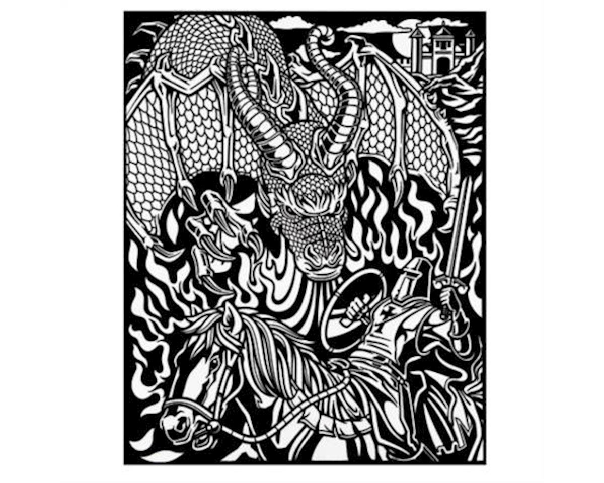 Darice Velvet Coloring Poster with Markers-Dragon and Knight