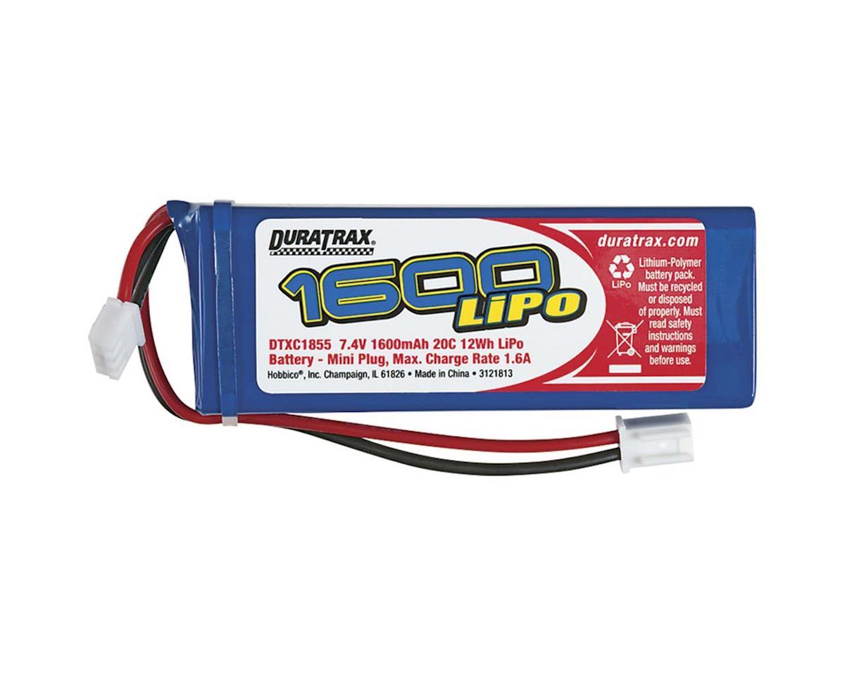 LiPo 2S 7.4V 1600mAh 20C 1/16 1/18 Mini RC18 Series by DuraTrax