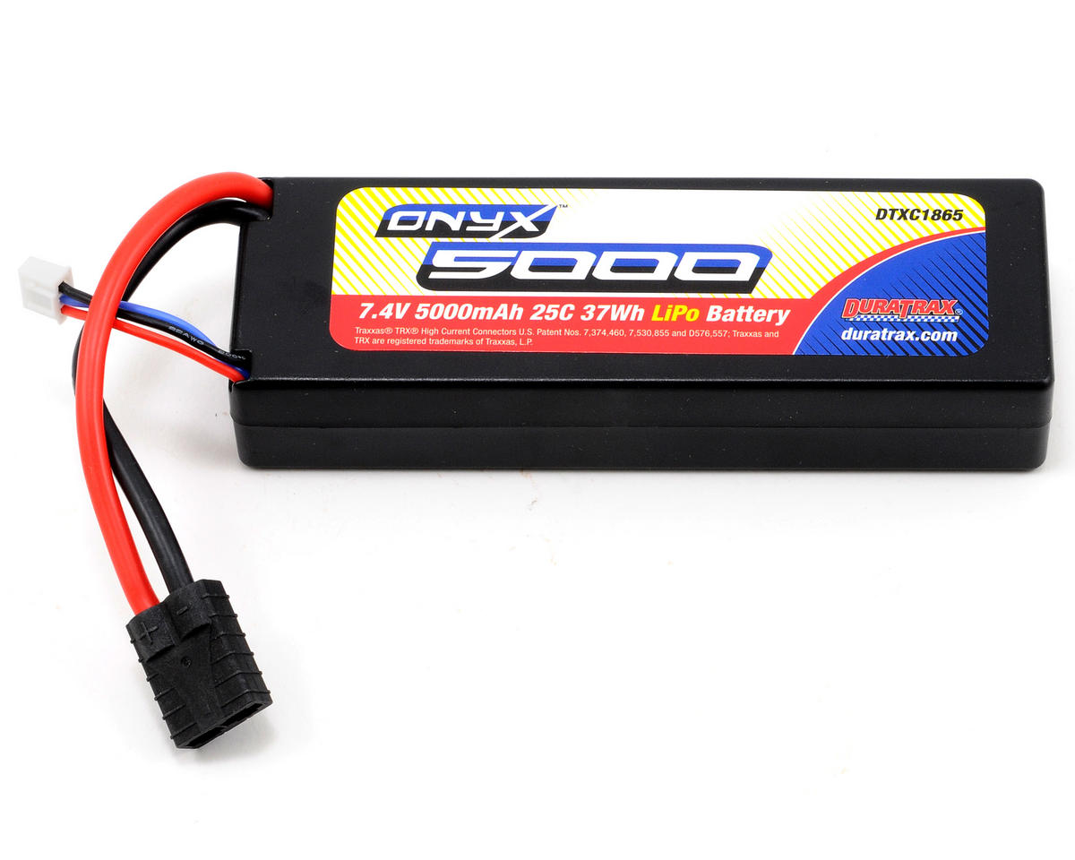 Onyx 2S Hard Case  LiPo 25C Battery Pack w/TRA (7.4V/5000mAh) by DuraTrax