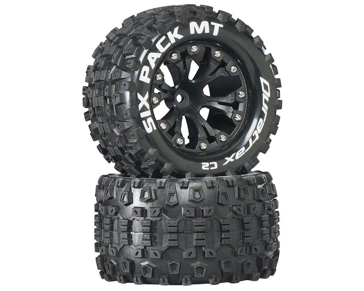 "DuraTrax Sixpack MT 2.8"" Mounted Nitro Rear Truck Tires (Black) (2) (1/2 Offset) (Traxxas Rustler)"