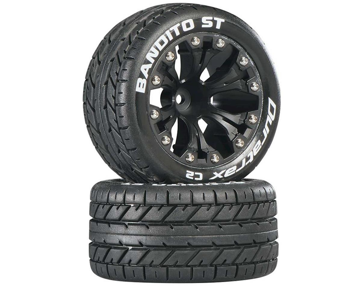 "DuraTrax Bandito ST 2.8"" Mounted Rear Truck Tires (Black) (2) (1/2 Offset) (Traxxas Jato)"