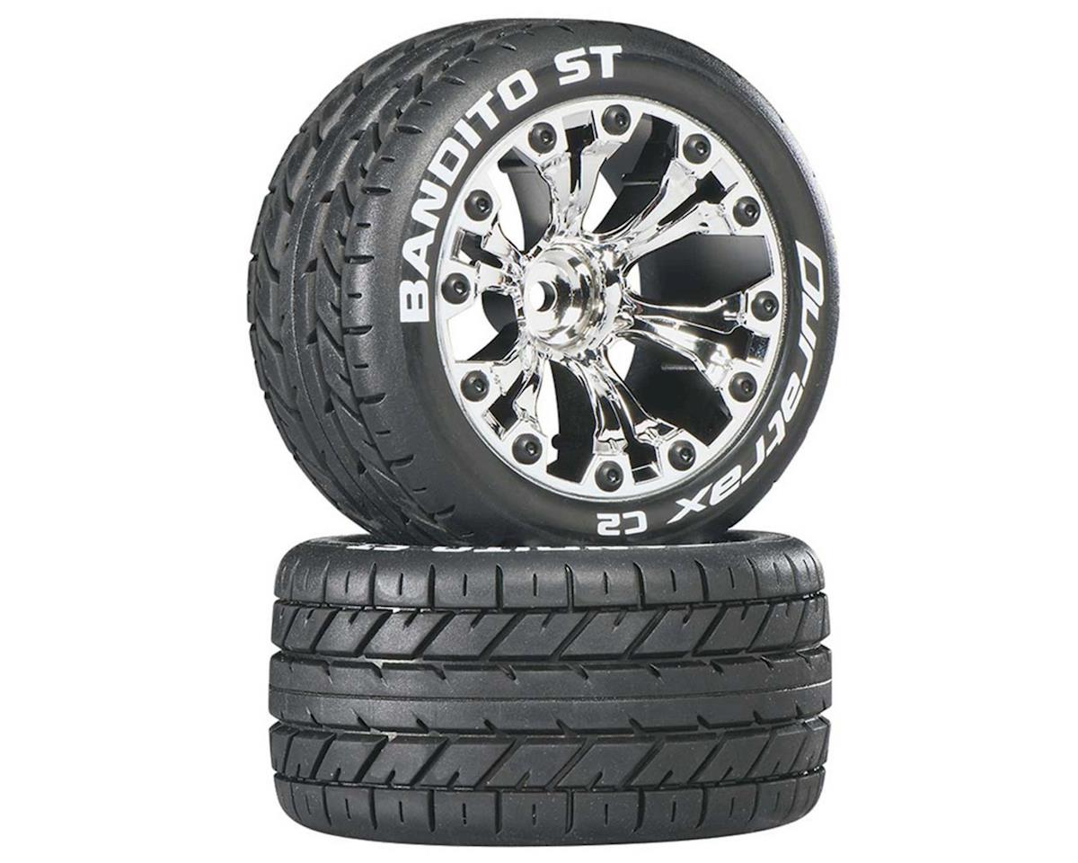 "DuraTrax Bandito ST 2.8"" Mounted Rear Truck Tires (Chrome) (2) (1/2 Offset)"
