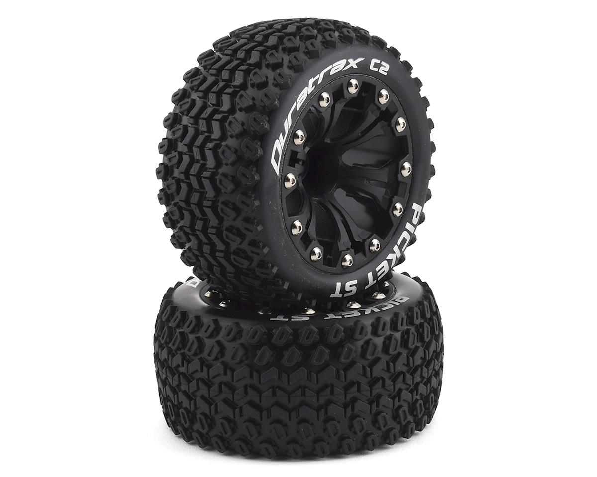 "DuraTrax Picket ST 2.8"" Mounted Rear Truck Tires (Black) (2) (Traxxas Jato)"