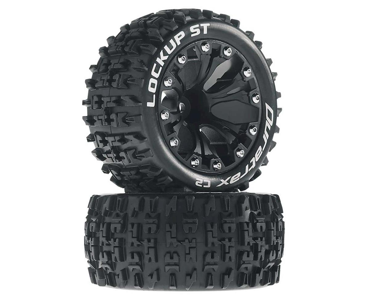"DuraTrax Lockup ST 2.8"" Mounted Rear Truck Tires (Black) (2) (1/2 Offset)"