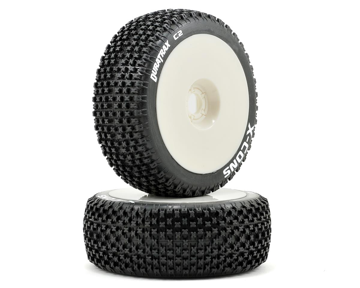 DuraTrax X-Cons Pre-Mounted  1/8 Buggy Tires (White) (2) (Soft - C2)