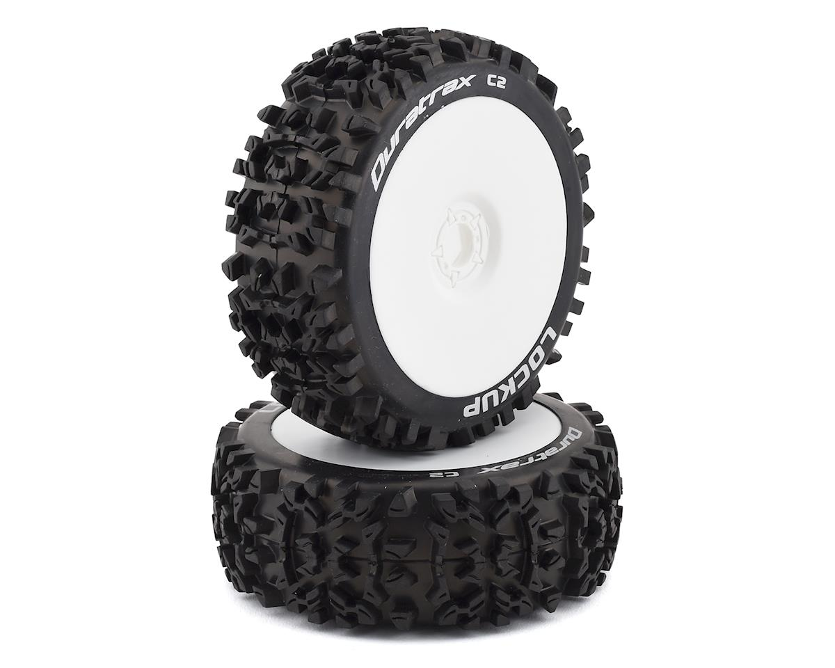 Pre-Mounted Lockup 1/8 Buggy Tires (White) (2) by DuraTrax