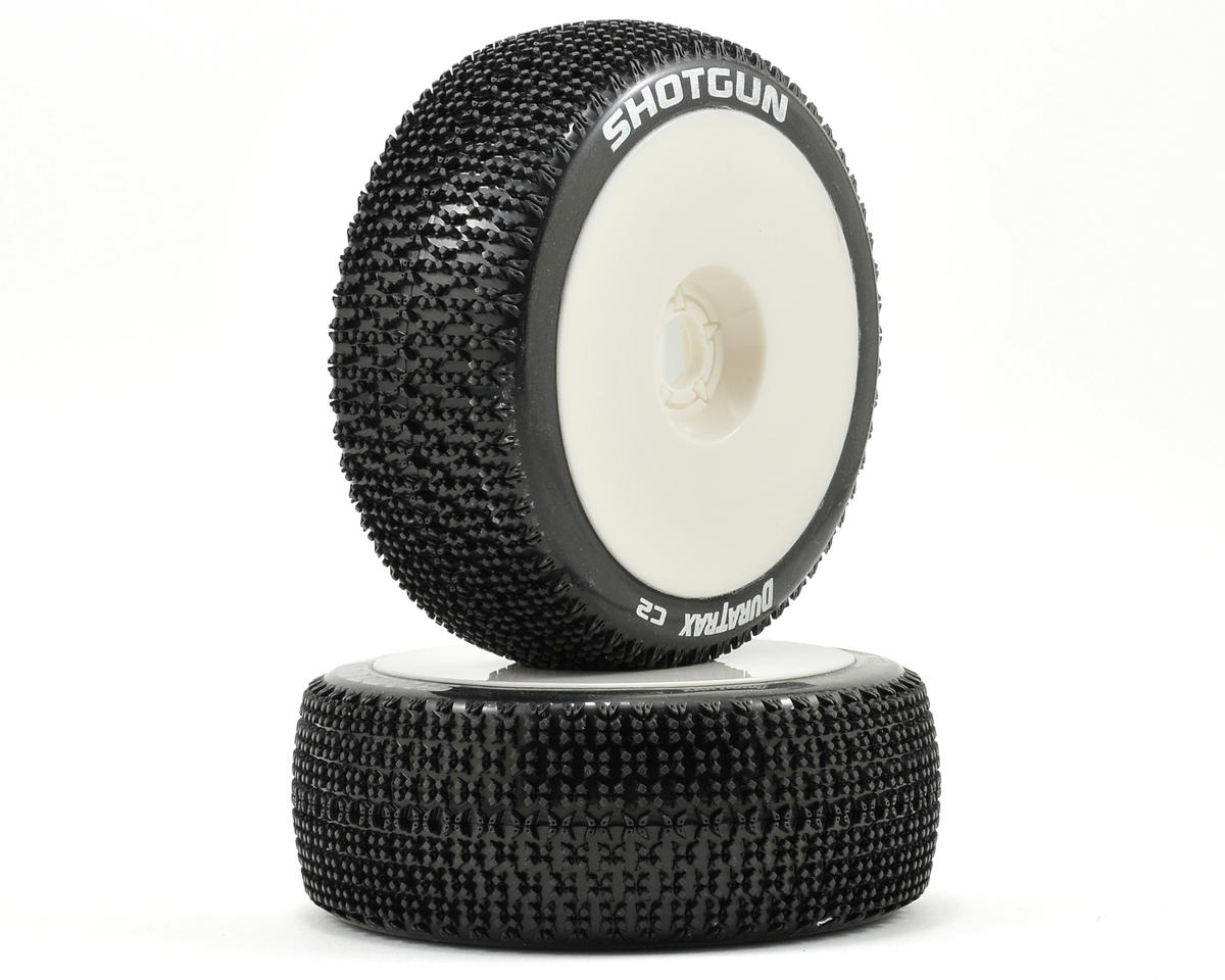 Pre-Mounted Shotgun 1/8 Buggy Tires (White) (2) by DuraTrax