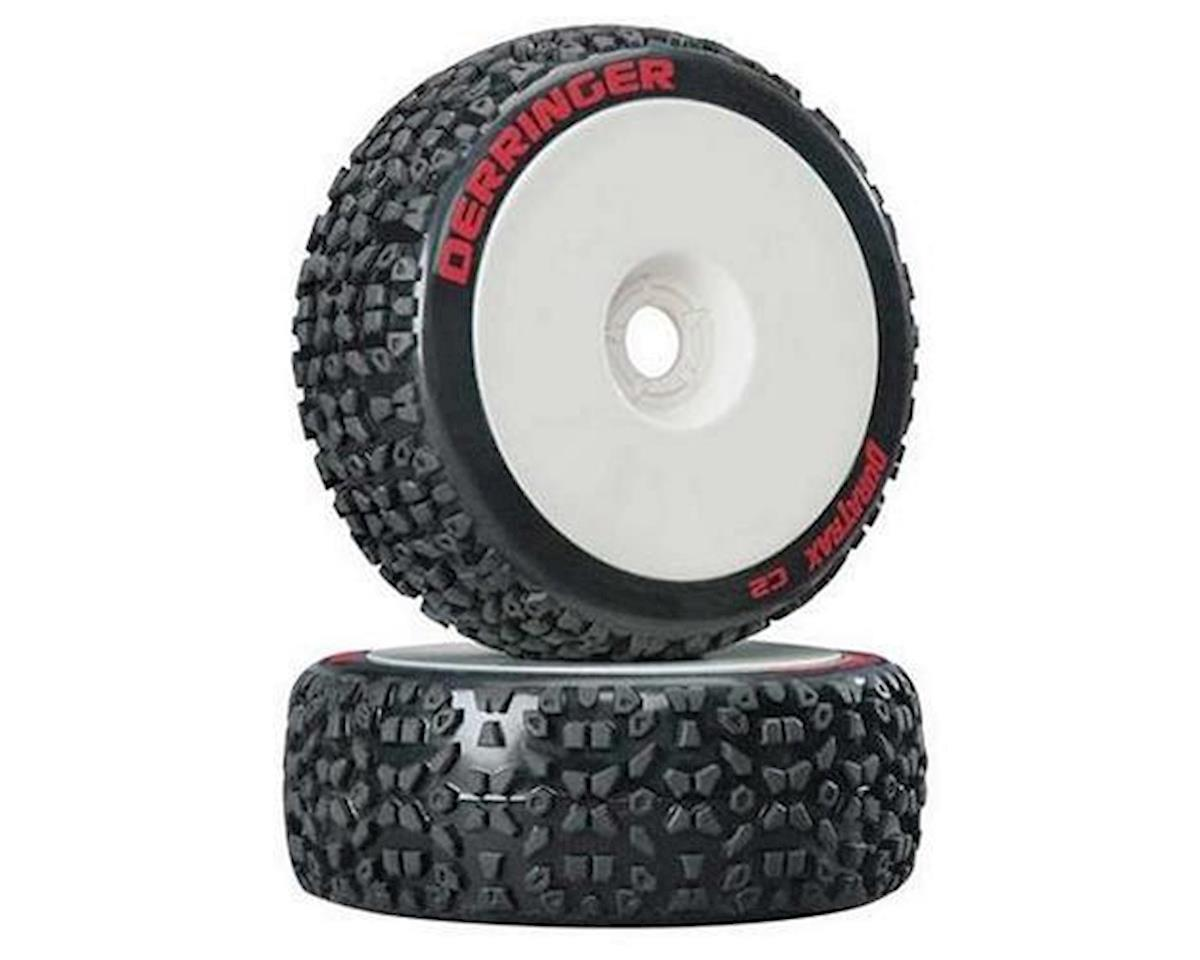 Derringer 1/8 Buggy Tire C2 Mounted White (2) by DuraTrax