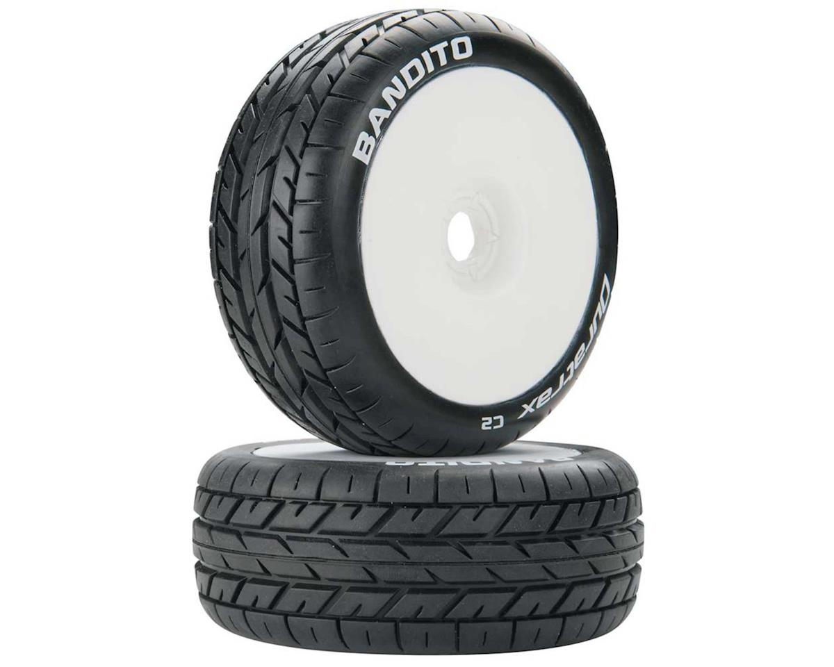 Bandito 1/8 Pre-Mounted Buggy Tire (White) (2) (C2) by DuraTrax
