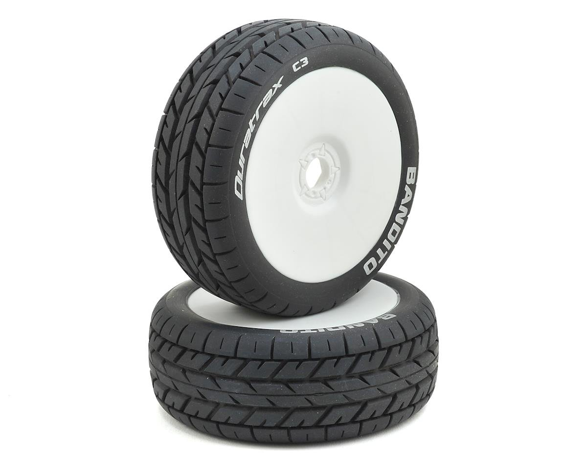 DuraTrax Bandito 1/8 Buggy Tire C3 Mounted White (2)