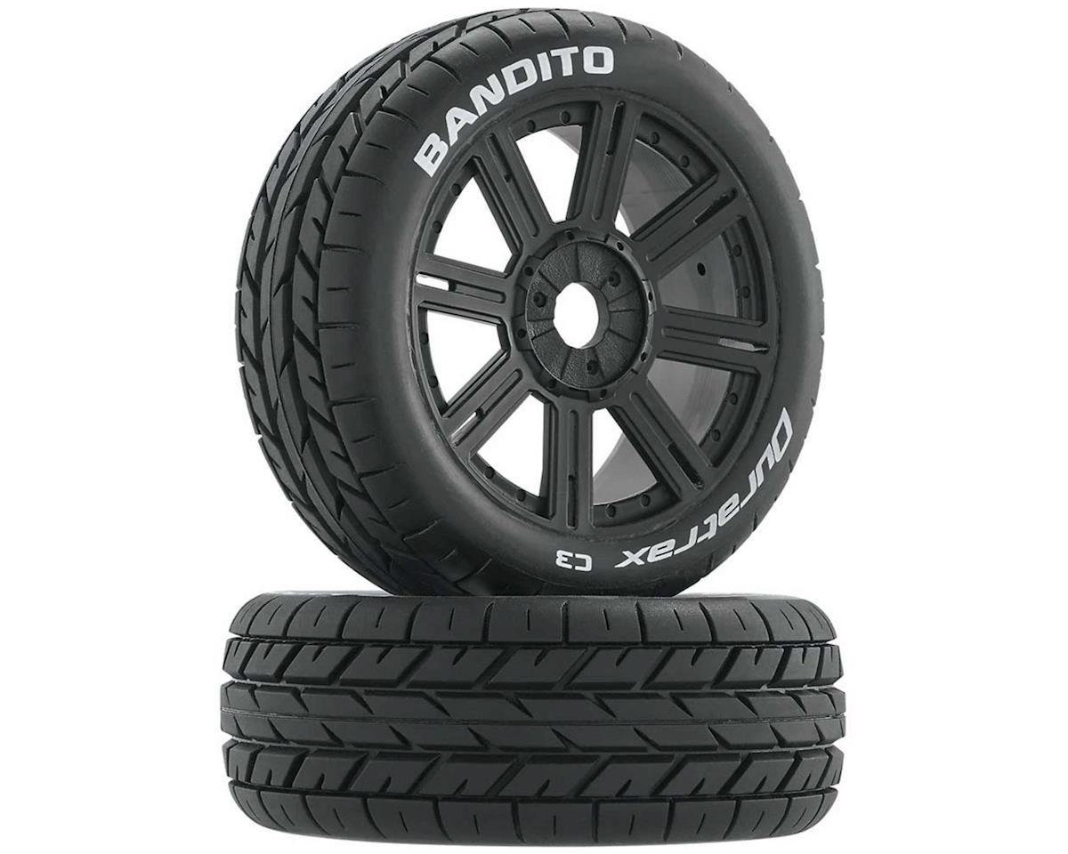 Bandito Buggy Tire C3 Mounted Spoke Black (2) by DuraTrax