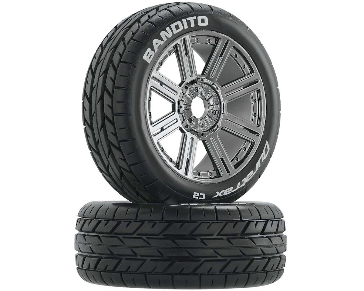 Bandito 1/8 Mounted Buggy Tires (Chrome) (2) (C2) by DuraTrax