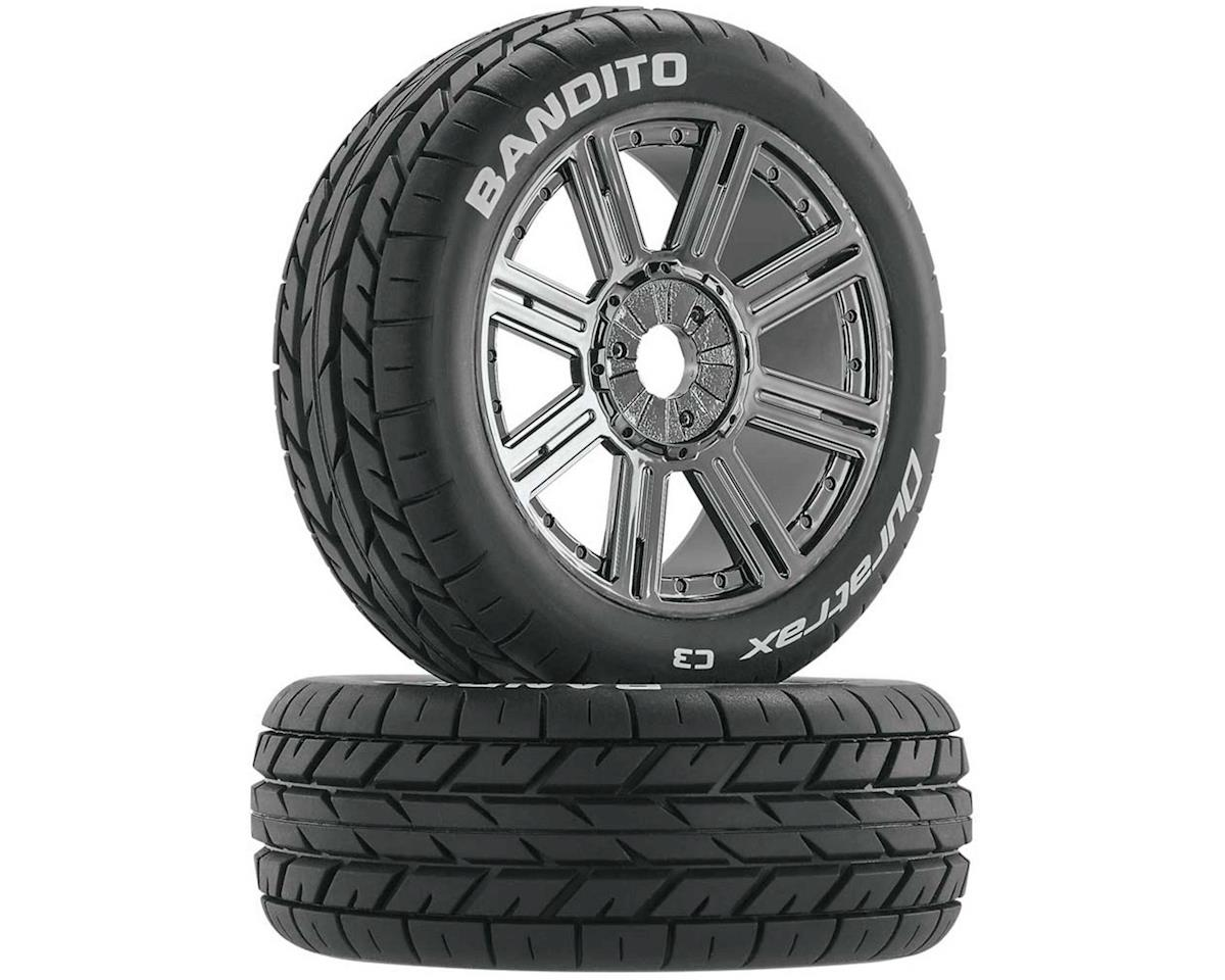 Bandito Buggy Tire C3 Mounted Spoke Black Chrome (2) by DuraTrax