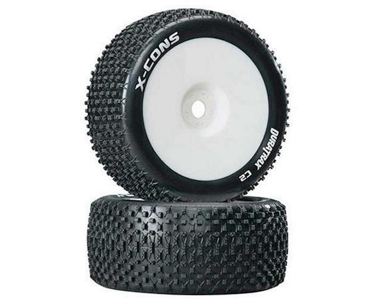DuraTrax X-Cons 1/8 Mounted Truggy Tire (White) (2) (Zero Offset)