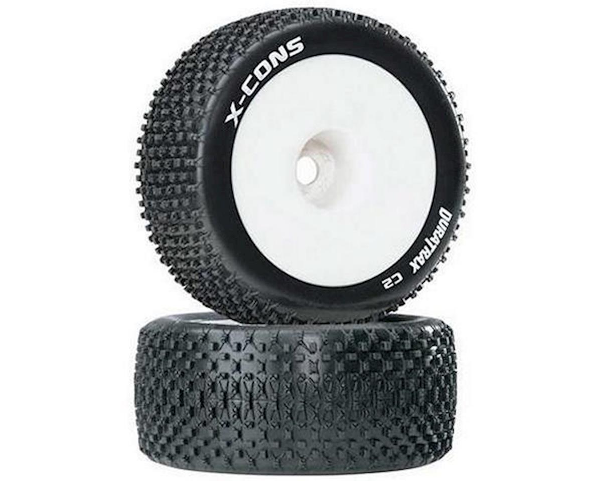 "DuraTrax X-Cons 1/8 Mounted Truggy Tire (White) (2) (1/2"" Offset) 