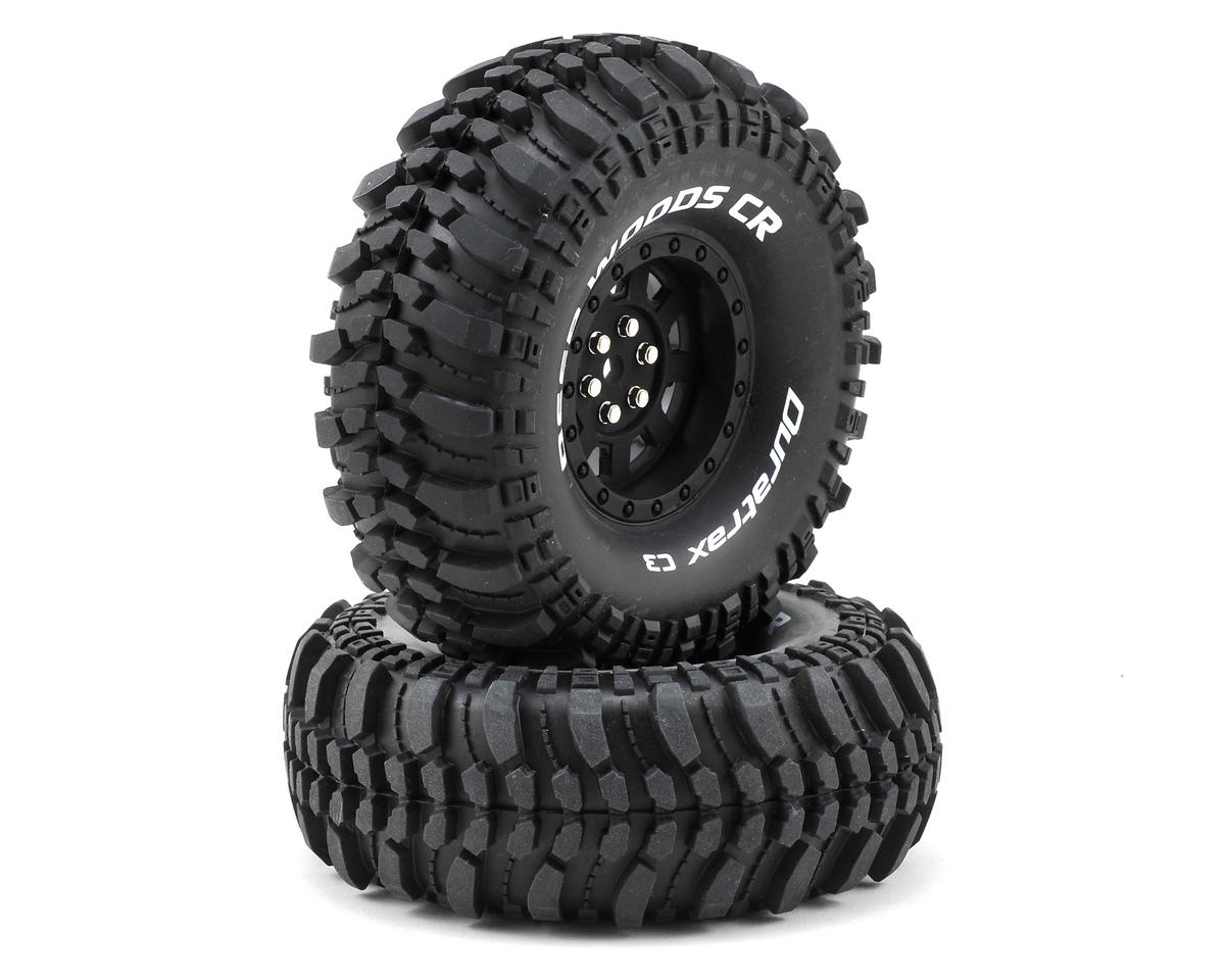 "DuraTrax Deep Woods CR 1.9"" Pre-Mounted Crawler Tires (2) (Black)"