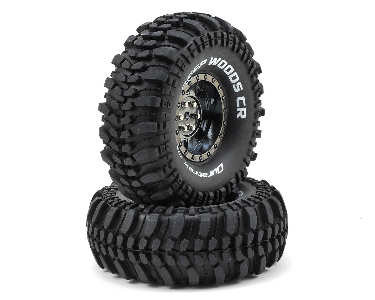 "DuraTrax Deep Woods CR 1.9"" Pre-Mounted Crawler Tires (2) (Black Chrome)"