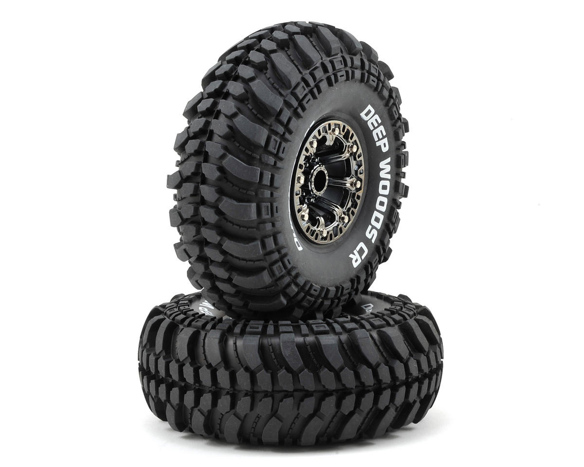 "DuraTrax Deep Woods CR 2.2"" Pre-Mounted Crawler Tires (2) (Black Chrome) (C3)"