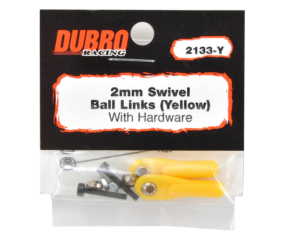 "Du-Bro 2mm x 1/2"" Ball Link (Yellow) (2)"