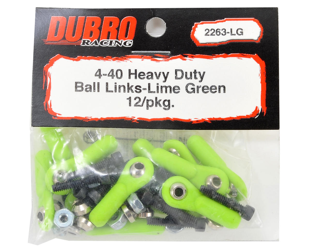 Du-Bro 4-40 Heavy Duty Ball Link Set (Lime Green) (12)