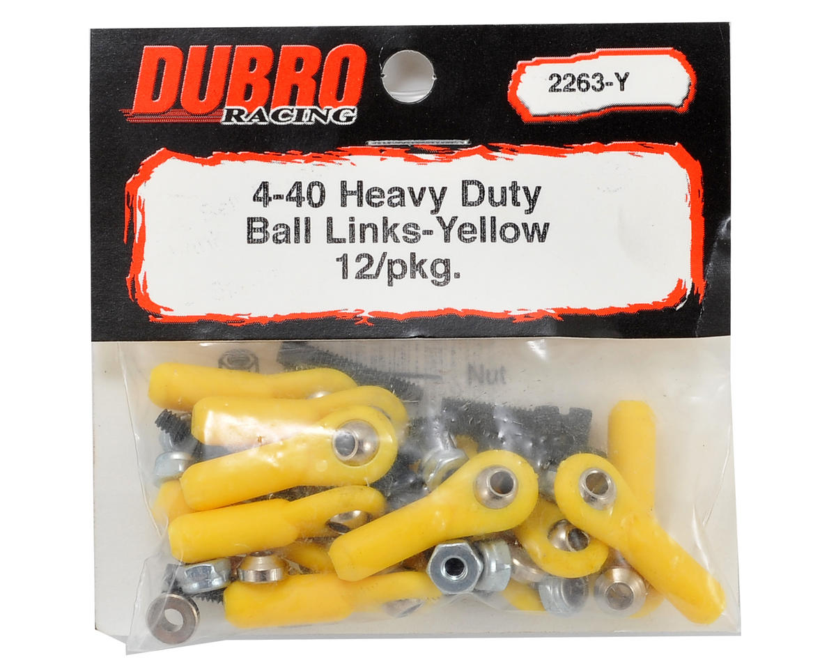 Du-Bro 4-40 Heavy Duty Ball Link Set (Yellow) (12)