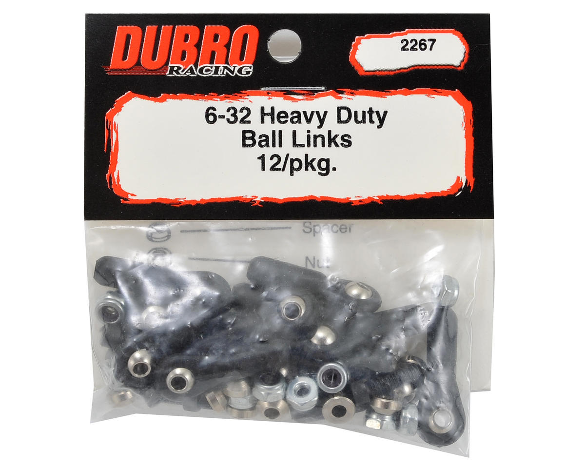 DuBro 6-32 Heavy Duty Ball Link Set (Black) (12)
