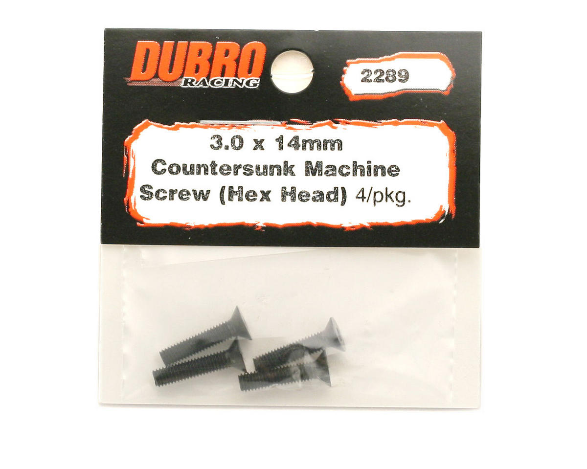 DuBro 3x14mm Flat Head Socket Screws (4)