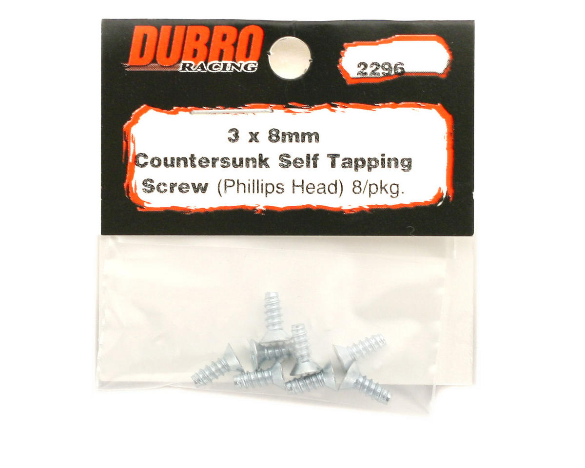 DuBro 3x8mm Flat Head Selftap Screws (8)