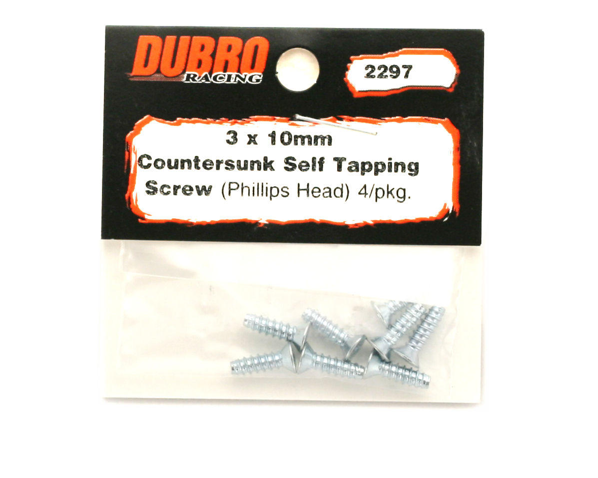 DuBro 3x10mm Flat Head Selftap Screws (8)