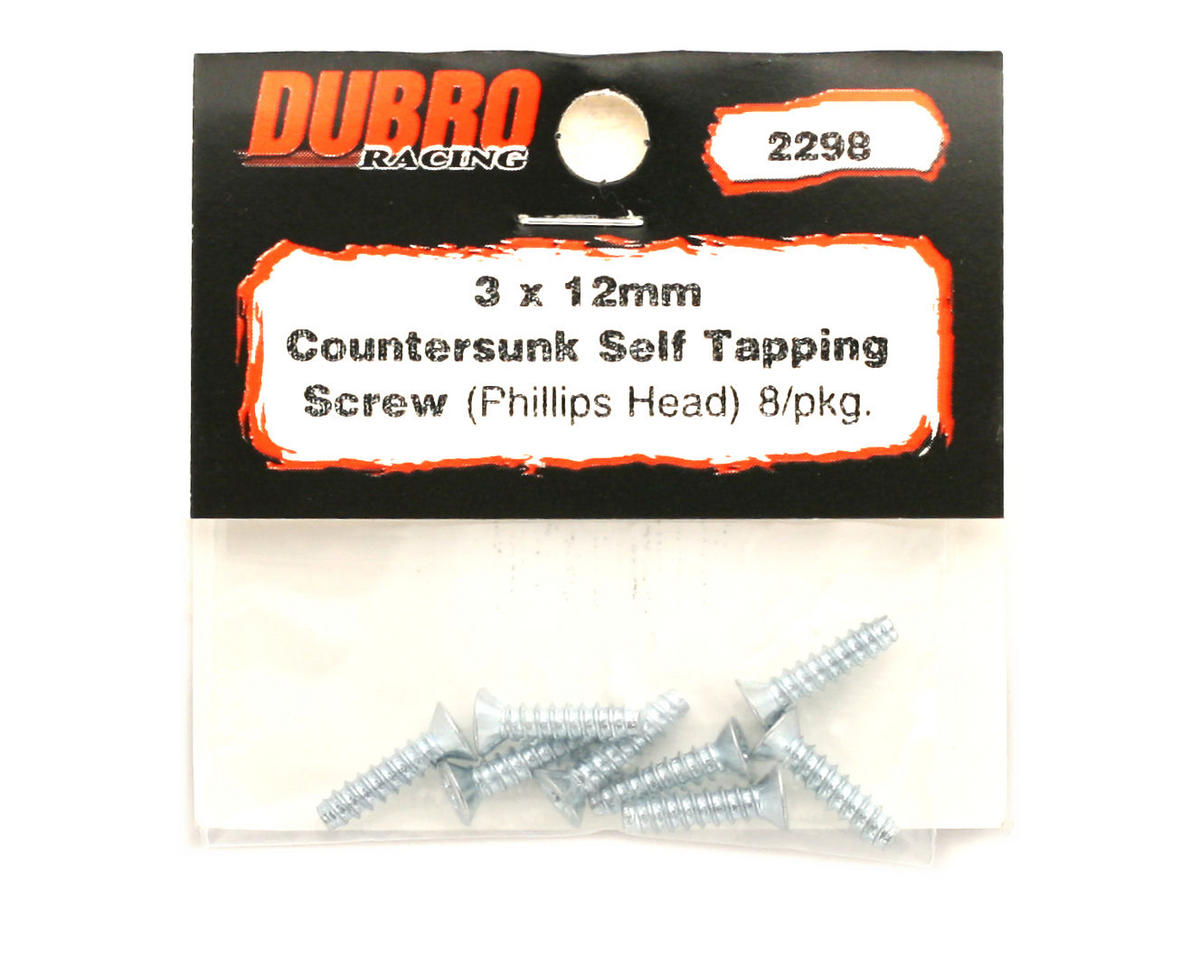 DuBro 3x12mm Flat Head Selftap Screws (8)