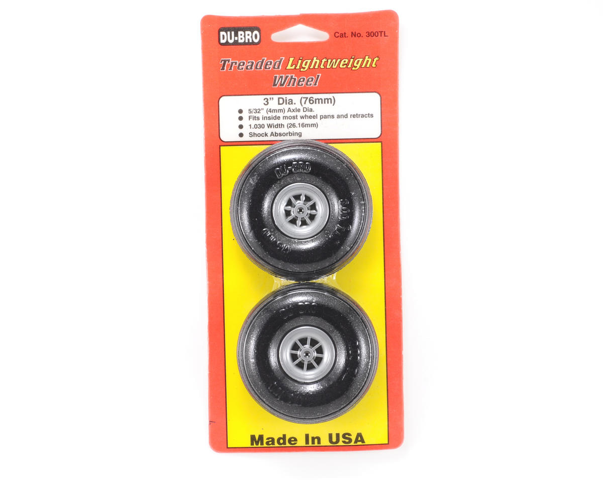"Du-Bro 3"" Treaded Lite Wheels (2)"