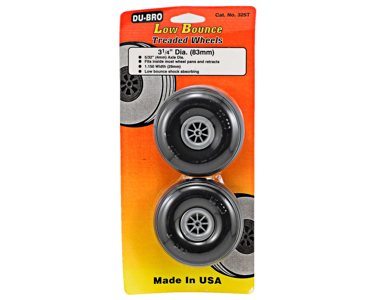 "Du-Bro 3-1/4"" Treaded Wheels (2)"