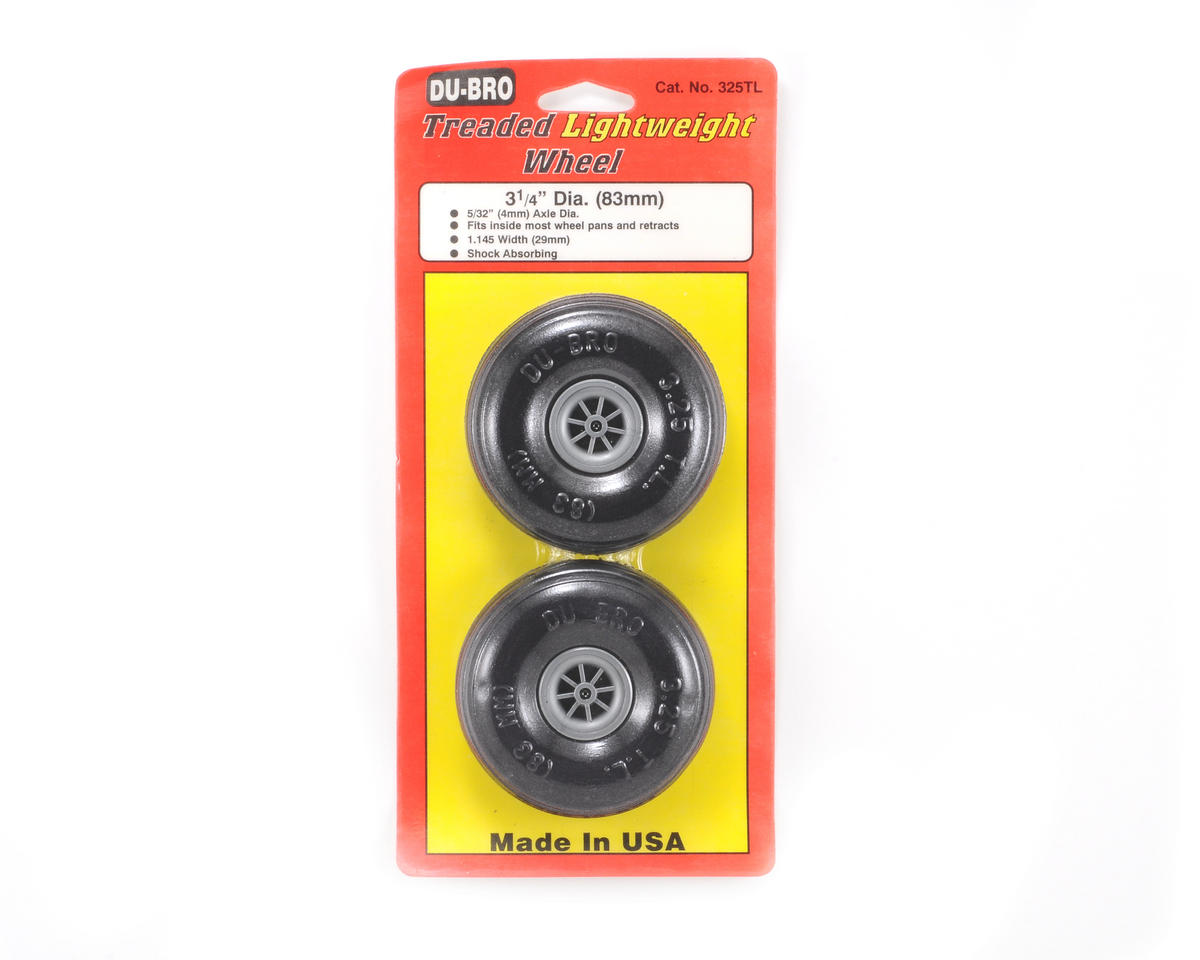 "Du-Bro 3-1/4"" Treaded Lite Wheel (2)"