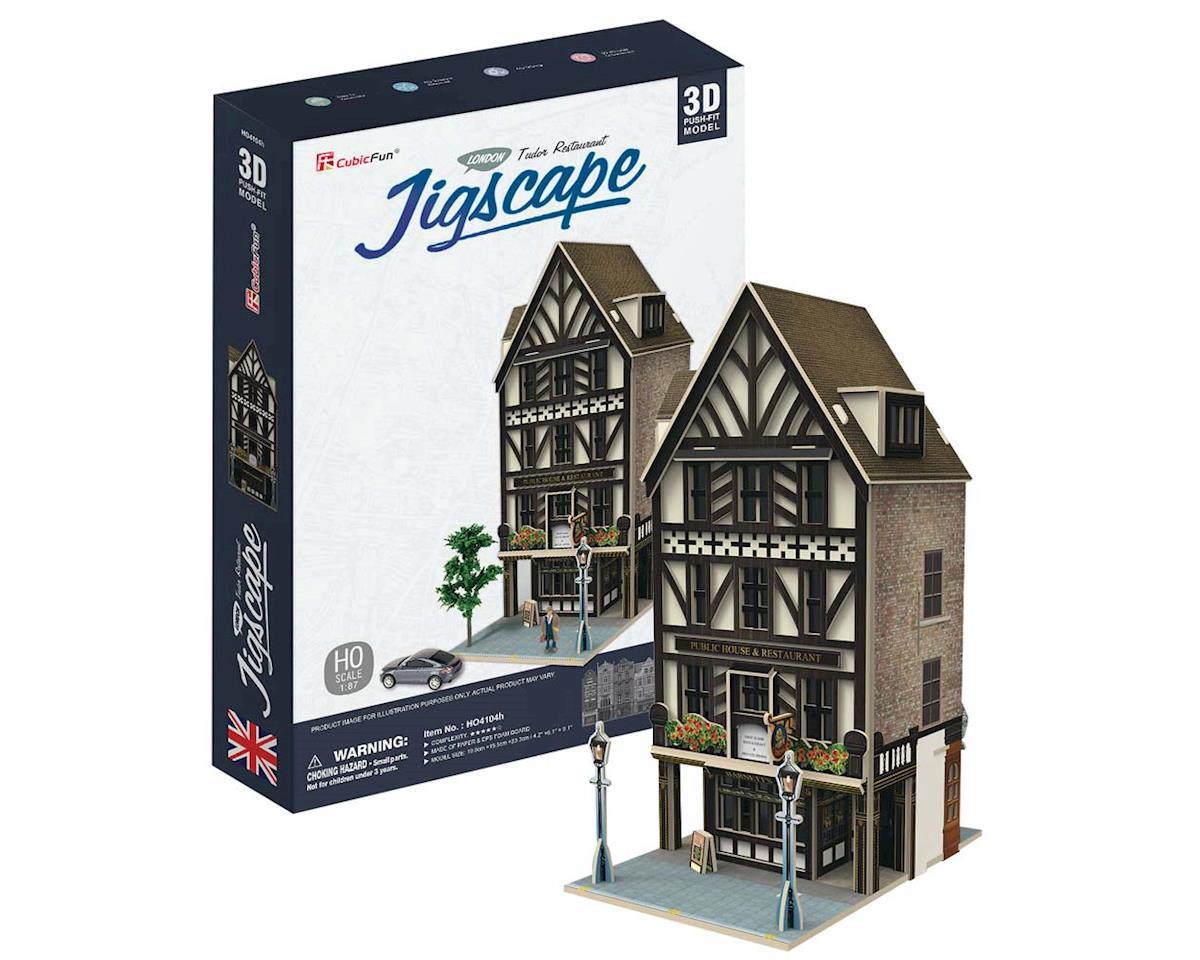 Daron Worldwide Trading HO4104H JigScape HO 3D Tudor Restaurant 44pcs