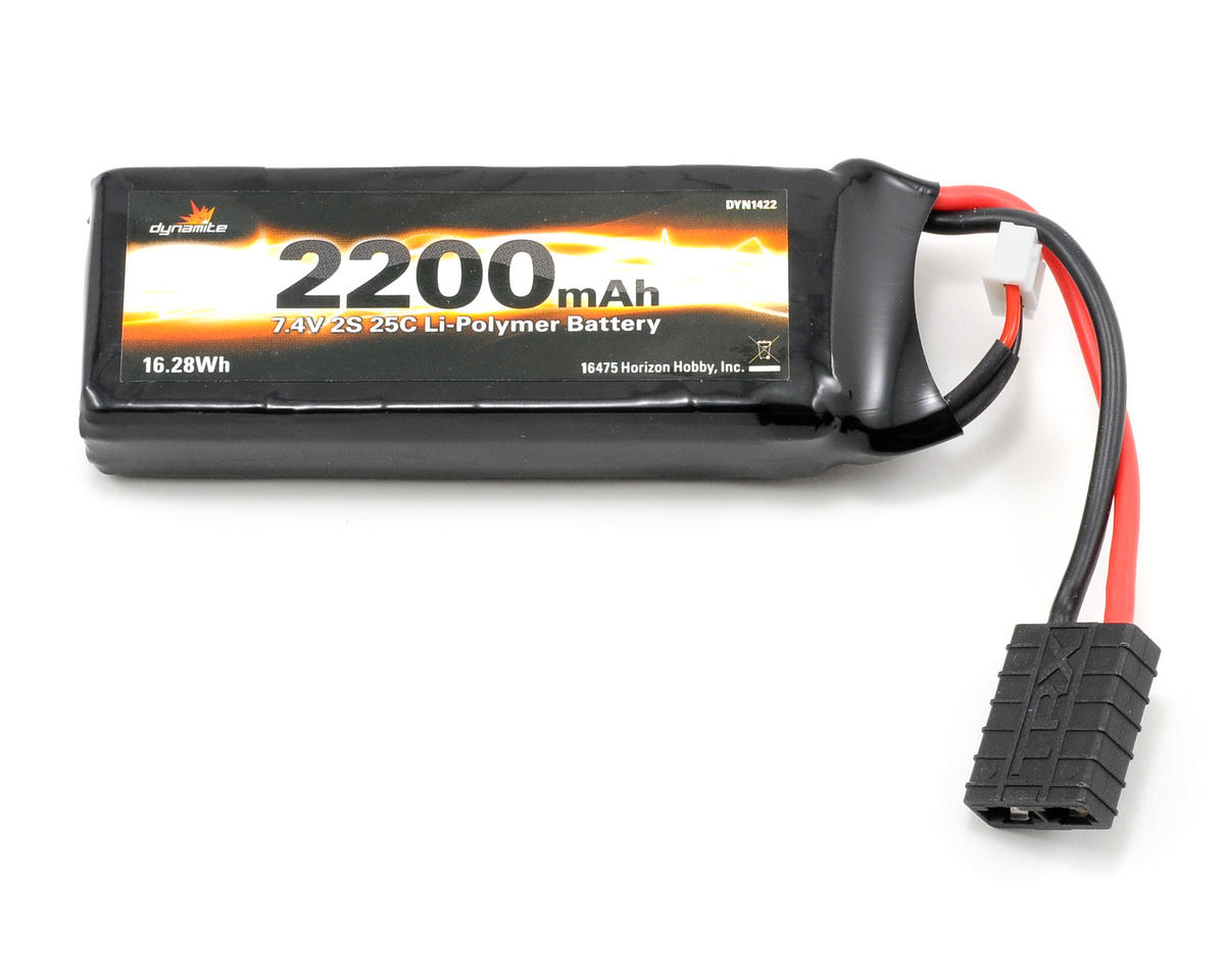 2S LiPo 25C Battery Pack (7.4V/2200mAh) (Traxxas 1/16) by Dynamite