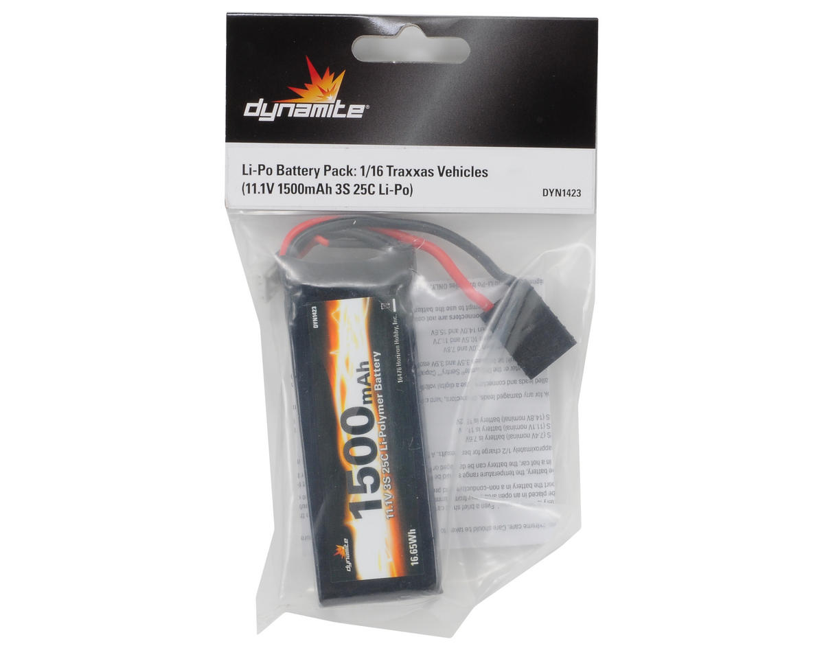 3S LiPo 25C Battery Pack (11.1V/1500mAh) (Traxxas 1/16) by Dynamite