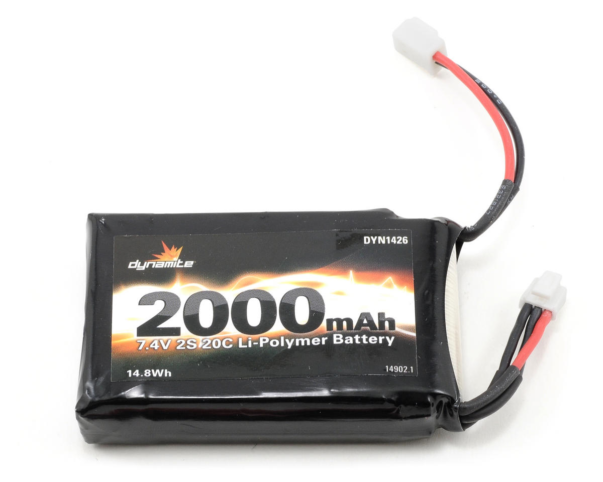 2S LiPo 20C Battery Pack (7.4V/2000mAh) (Mini-T) by Dynamite