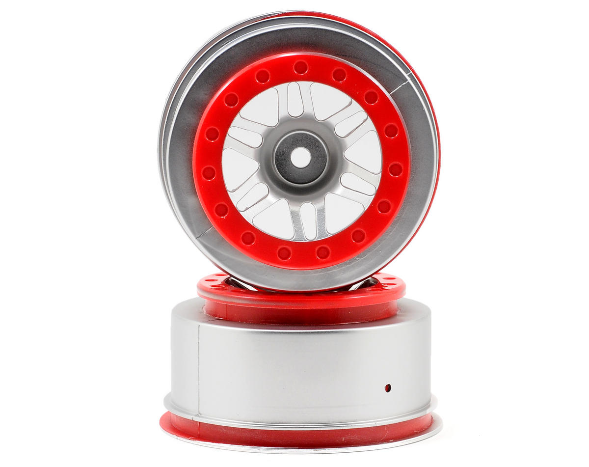 Dynamite 12mm Hex Short Course Wheels (Satin Chrome/Red) (2) (Slash Front)