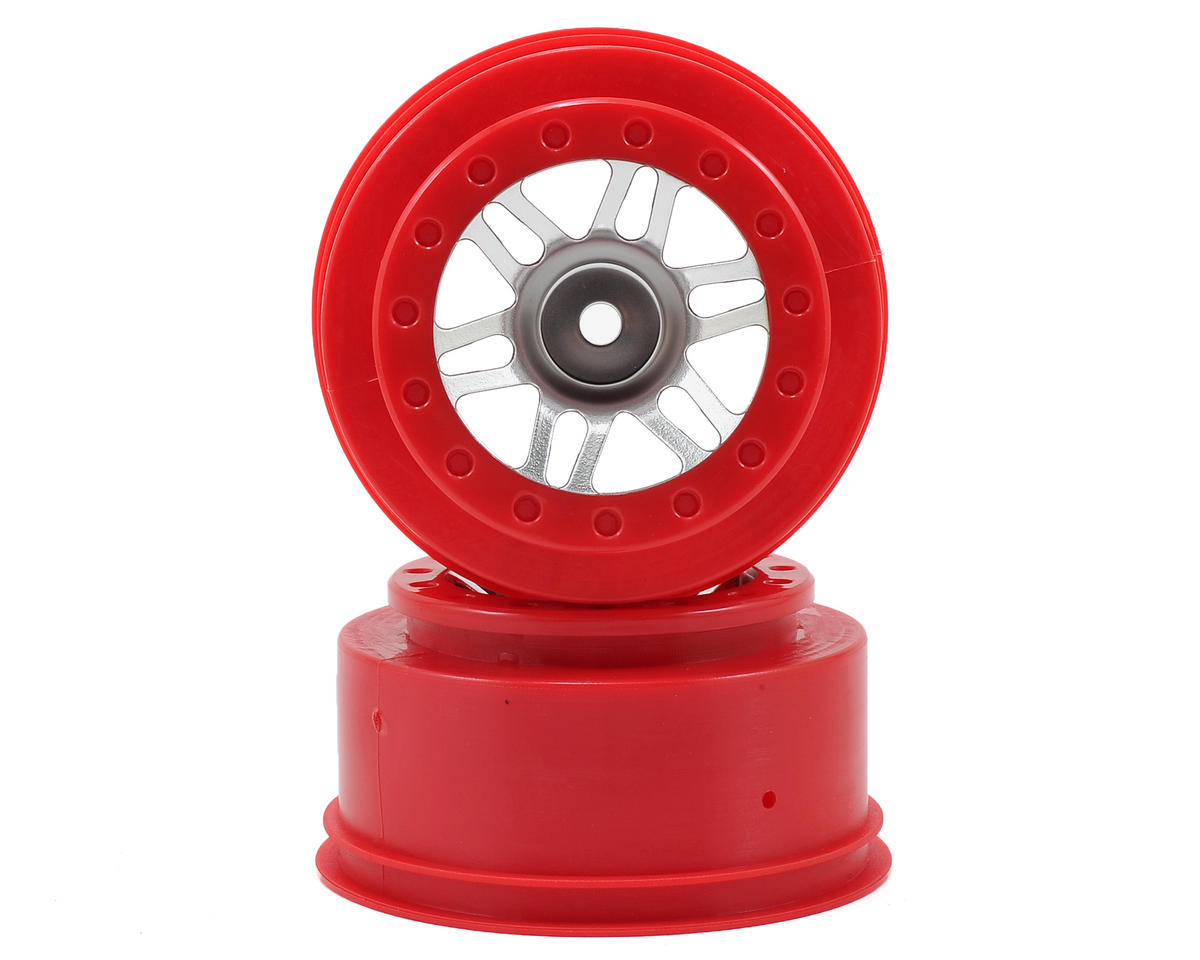 Dynamite 12mm Hex Short Course Wheels (Satin Chrome/Red) (2) (SC6/Slash/Blitz) (OFNA Jammin SCRT 10 Nitro)