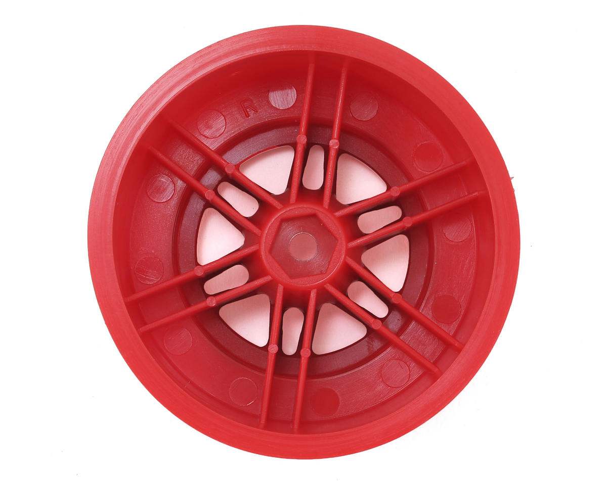 Dynamite 12mm Hex Short Course Wheels (Satin Chrome/Red) (2) (SC6/Slash/Blitz)