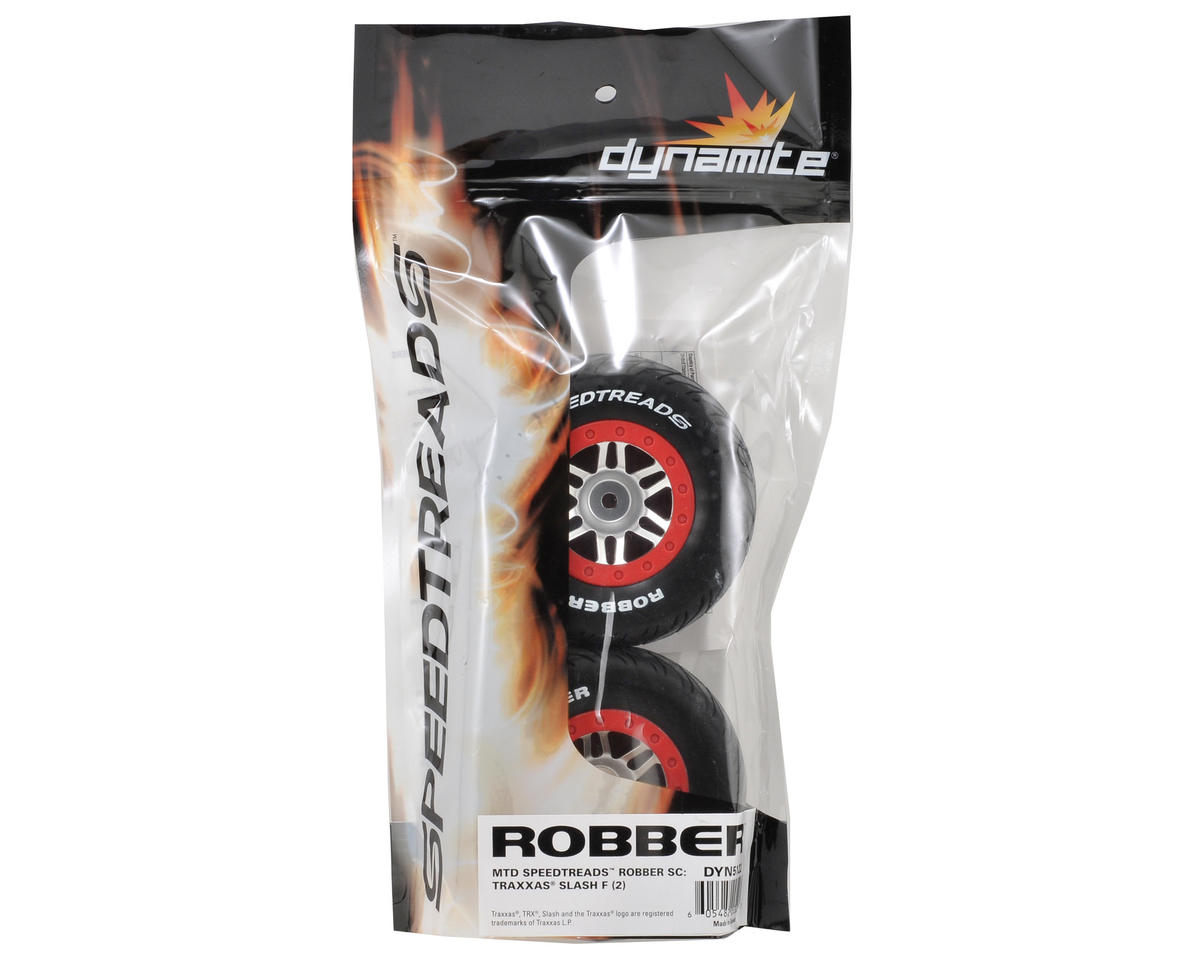 12mm Hex Speedtreads Robber Pre-Mounted Tire Set (2) (Slash Front) by Dynamite