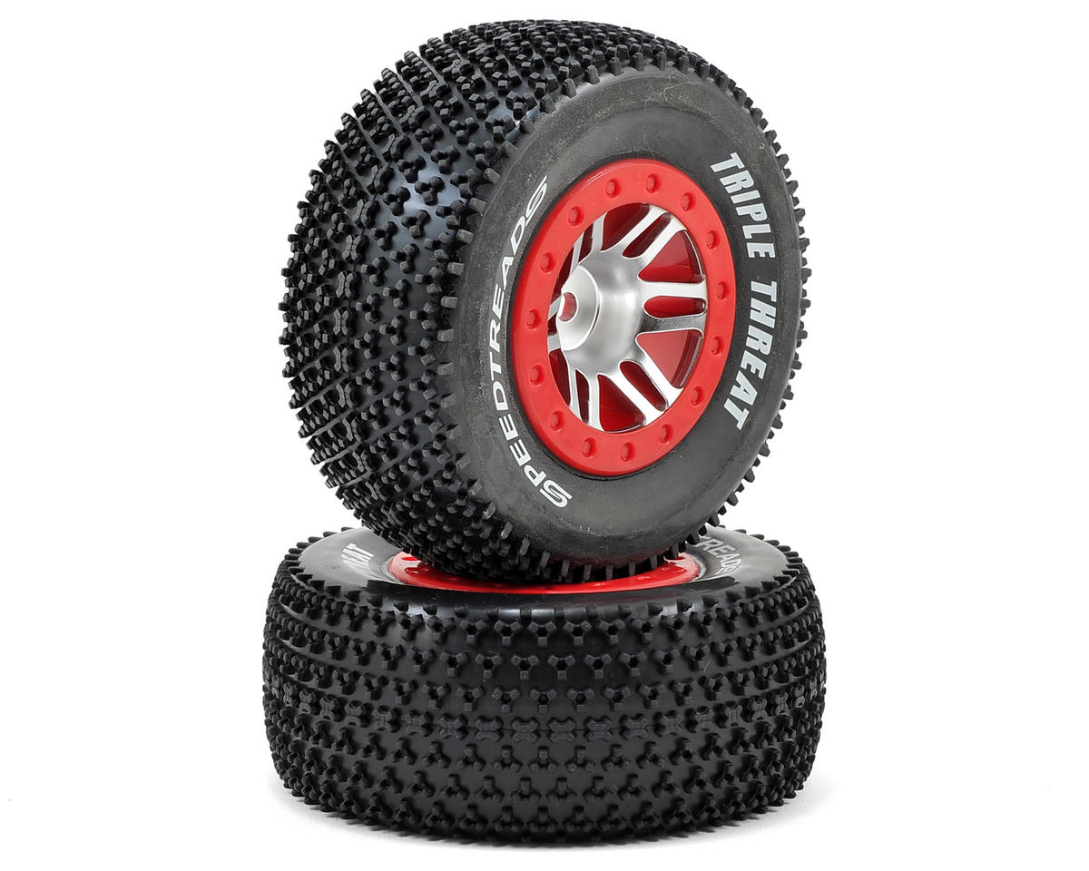 Speedtreads Triple Threat SC Pre-Mounted Tires (Satin Chrome/Red) (2) by Dynamite