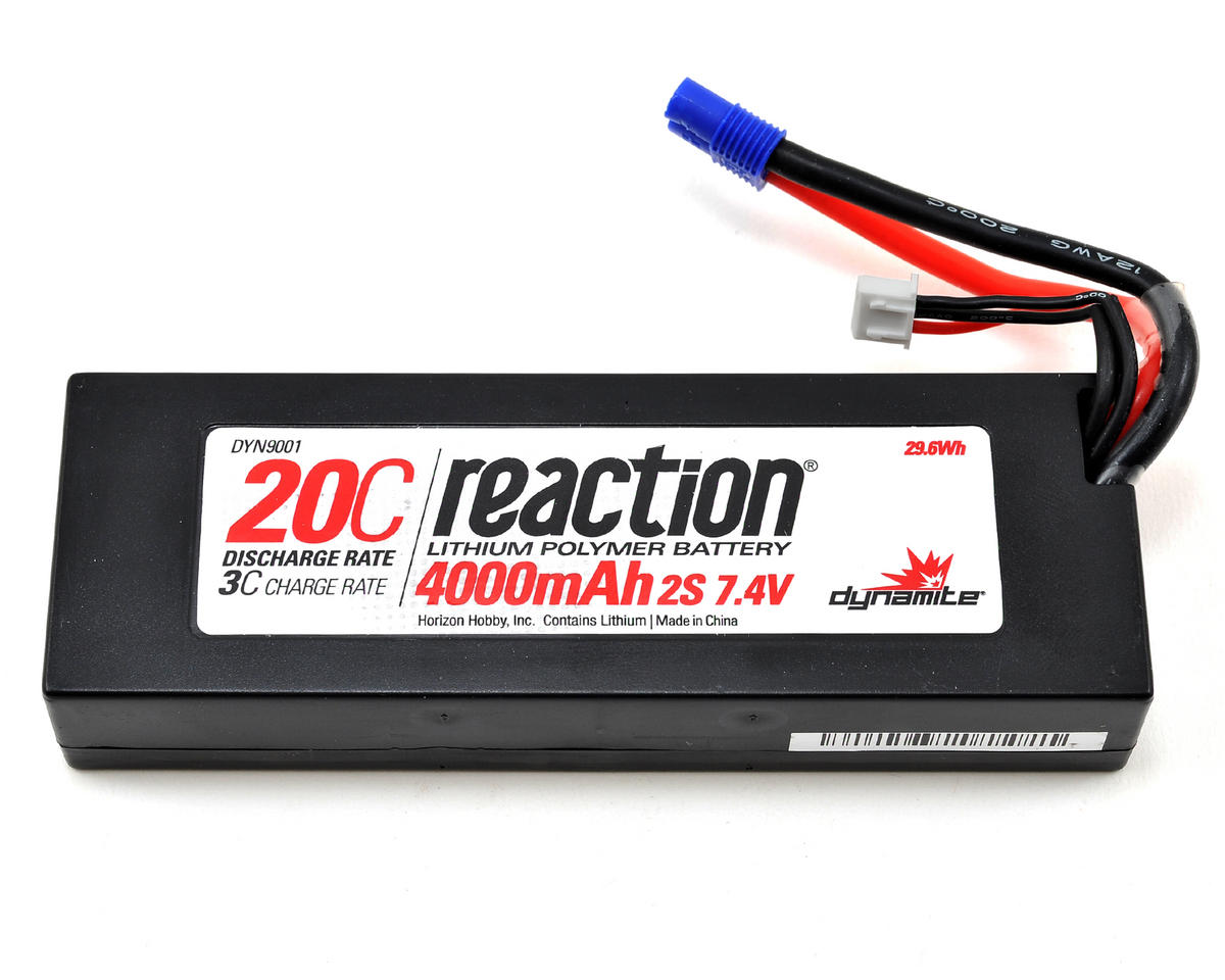 Reaction 2S 20C Hard Case LiPo Battery w/EC3 Connector (7.4V/4000mAh) by Dynamite