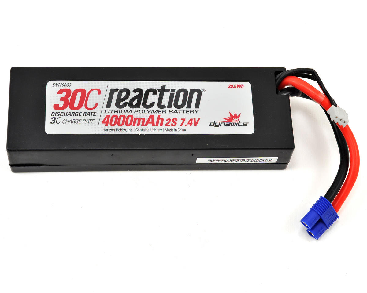 Reaction 2S 30C Hard Case LiPo Battery w/EC3 (7.4V/4000mAh) by Dynamite