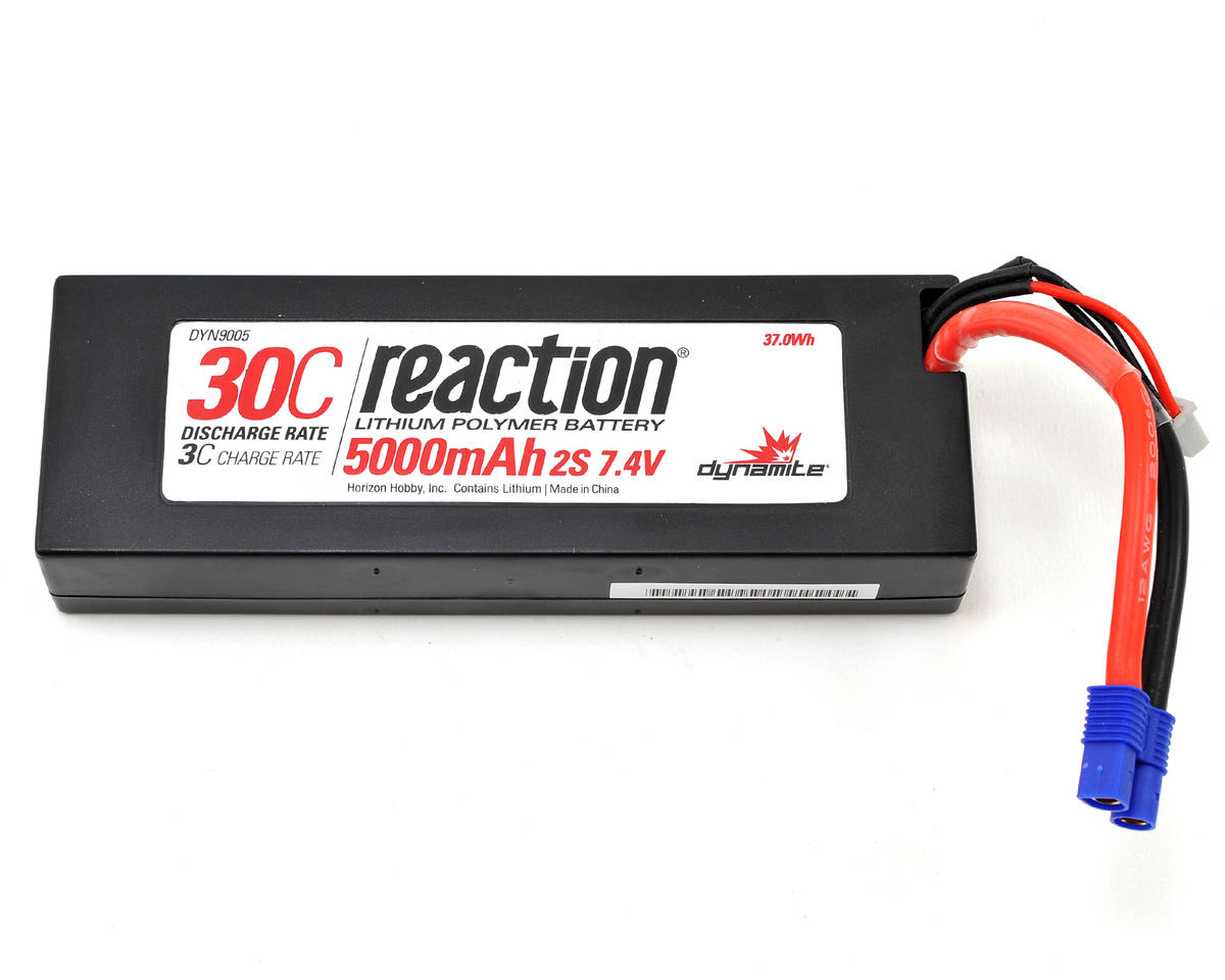 Dynamite Reaction 2S 30C Hard Case LiPo Battery w/EC3 Connector (7.4V/5000mAh)
