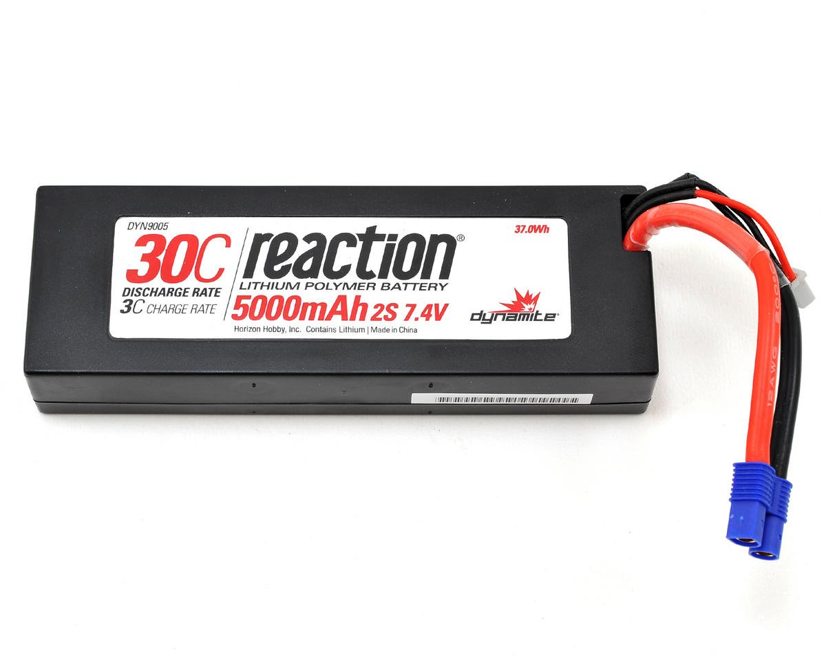 Reaction 2S 30C Hard Case LiPo Battery w/EC3 Connector (7.4V/5000mAh) by Dynamite